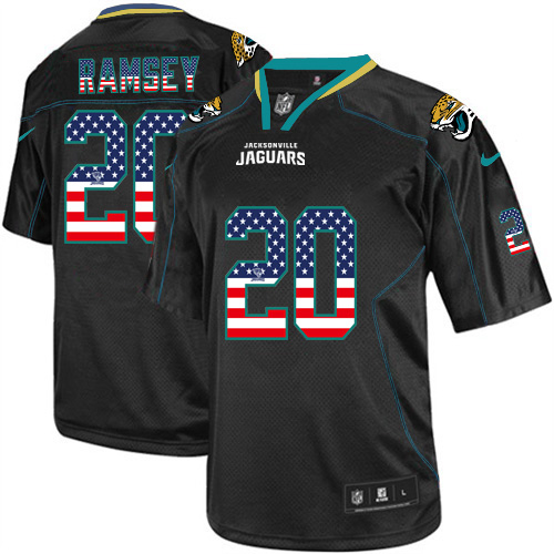 Men's Nike Jaguars #20 Jalen Ramsey Black USA Flag Fashion Elite Stitched Jersey