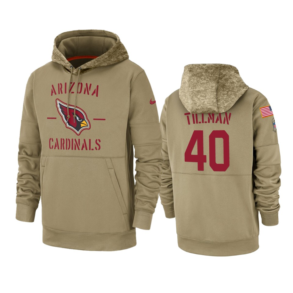 Men's Arizona Cardinals #40 Pat Tillman Tan 2019 Salute to Service Sideline Therma Pullover Hoodie