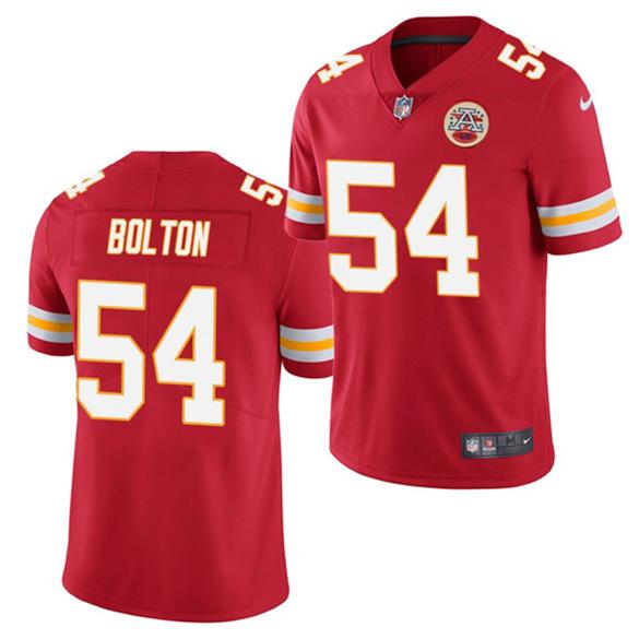 Men's Kansas City Chiefs #54 Nick Bolton Red 2021 Draft Limited ...