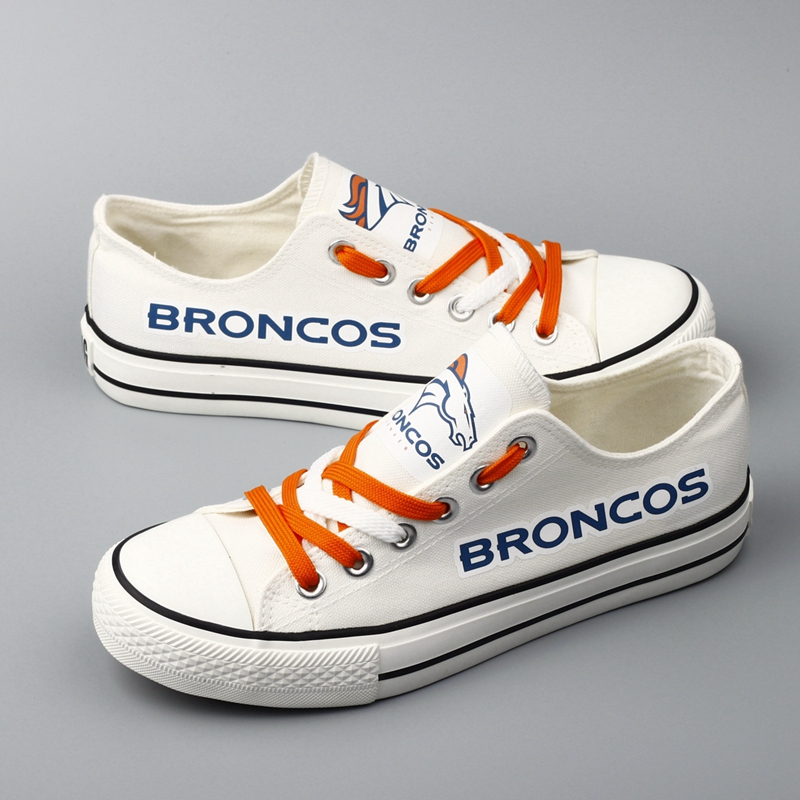 Women Or Youth NFL Denver Broncos Repeat Print Low Top Sneakers 002