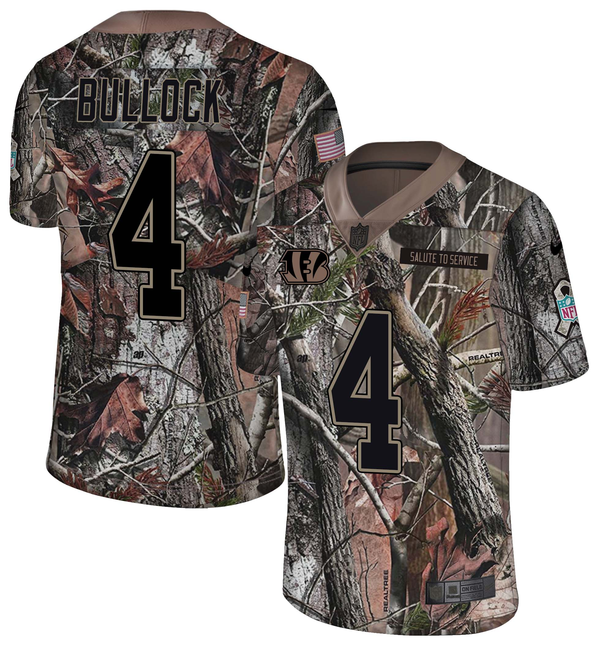 Men's Bengals #4 Randy Bullock Camo Realtree 2018 Rush Limited Stitched NFL Jersey