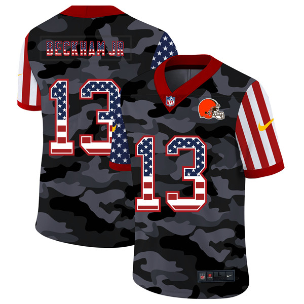Men's Cleveland Browns #13 Odell Beckham Jr. 2020 Camo USA Flag Limited Stitched NFL Jersey