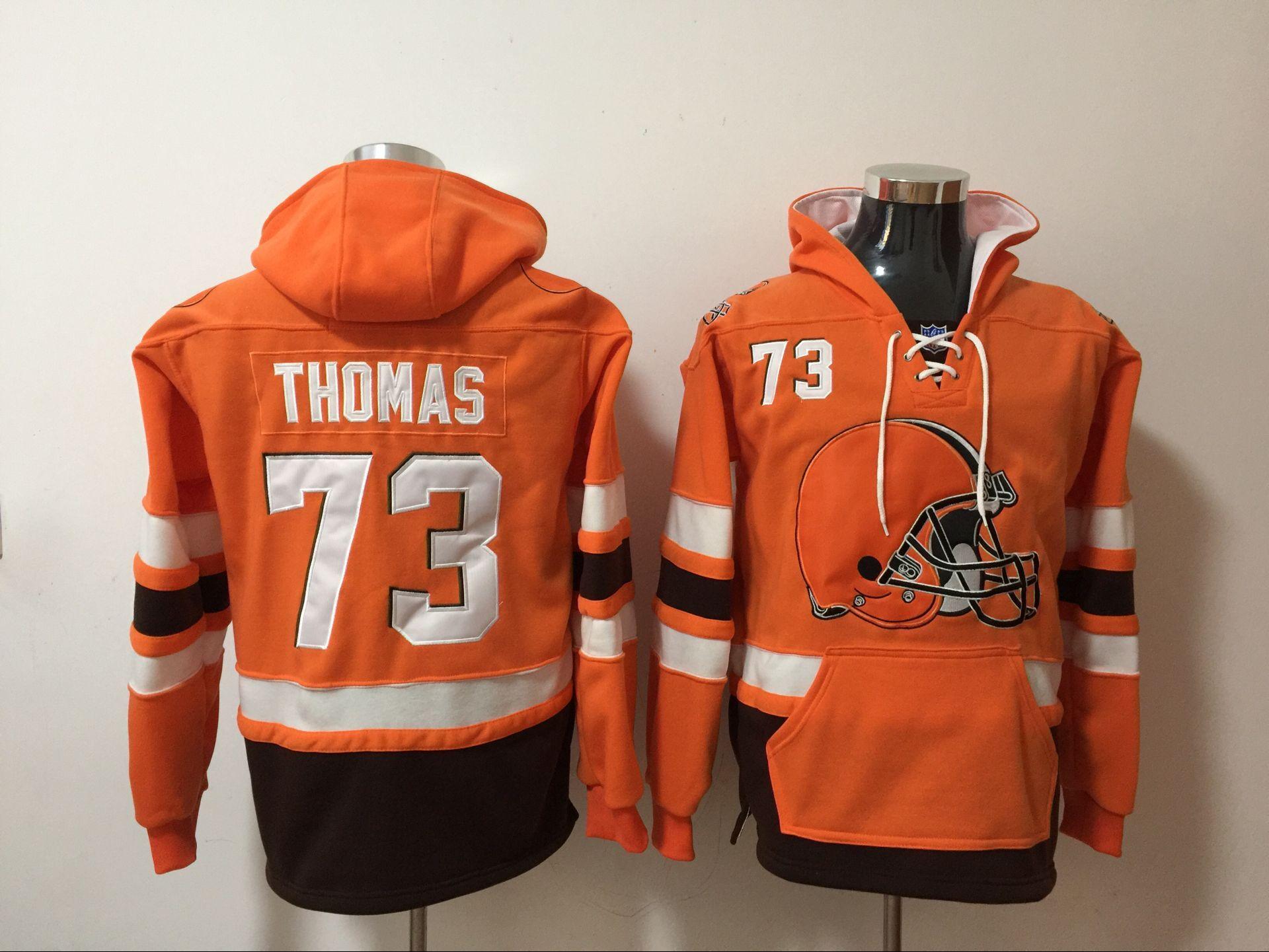 6c32514da Men s Cleveland Browns  73 Joe Thomas Orange All Stitched NFL Hooded  Sweatshirt