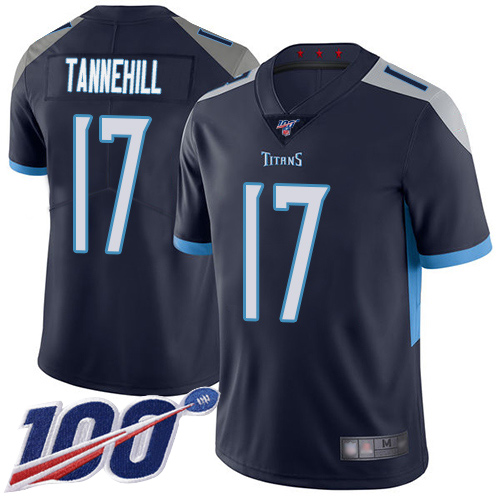 Men's Tennessee Titans #17 Ryan Tannehill Navy 2019 100th Season Vapor Untouchable Limited Stitched NFL Jersey