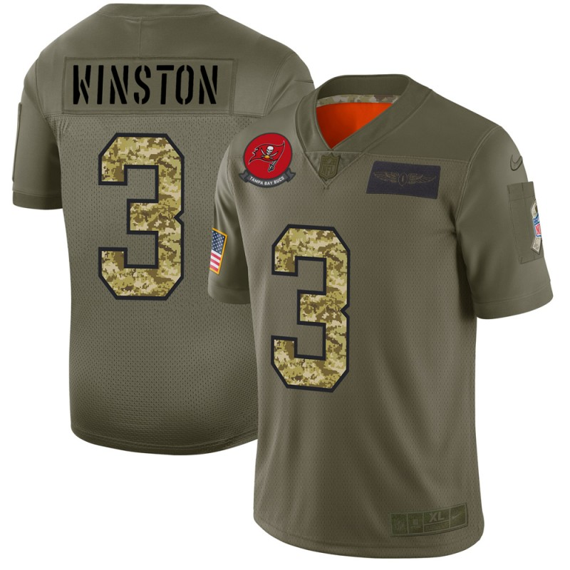 Men's Tampa Bay Buccaneers #3 Jameis Winston 2019 Olive/Camo Salute To Service Limited Stitched NFL Jersey