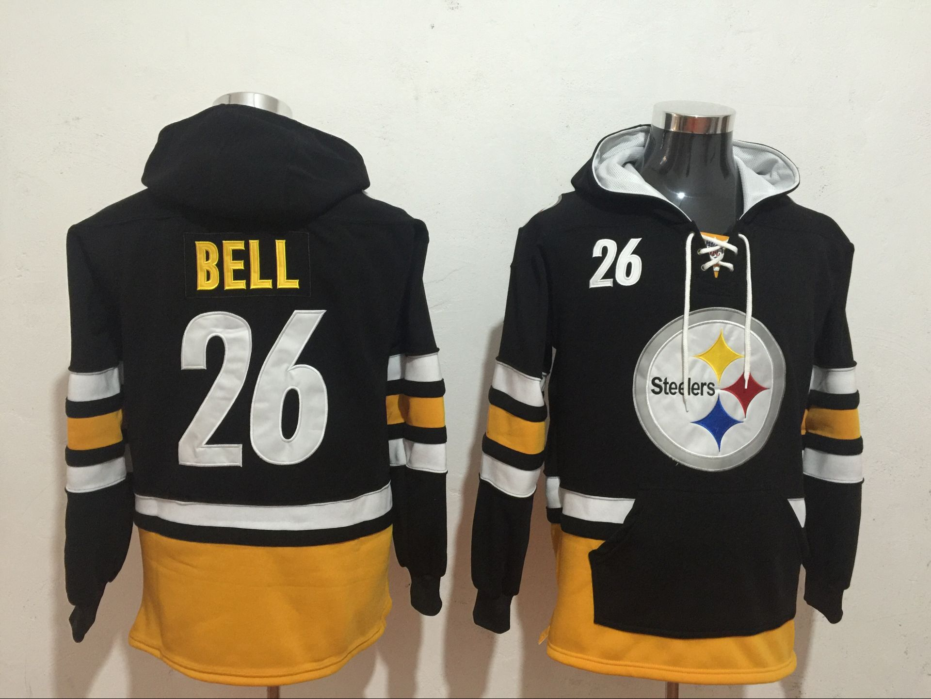 Men's Pittsburgh Steelers #26 Le'Veon Bell Black All Stitched NFL Hooded Sweatshirt