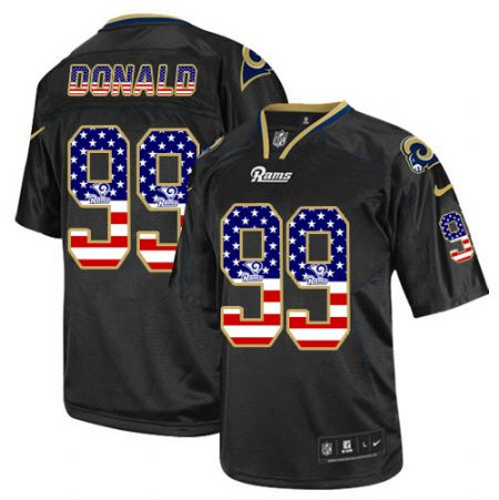 Men's Nike Rams #99 Aaron Donald Black USA Flag Fashion Elite Stitched Jersey