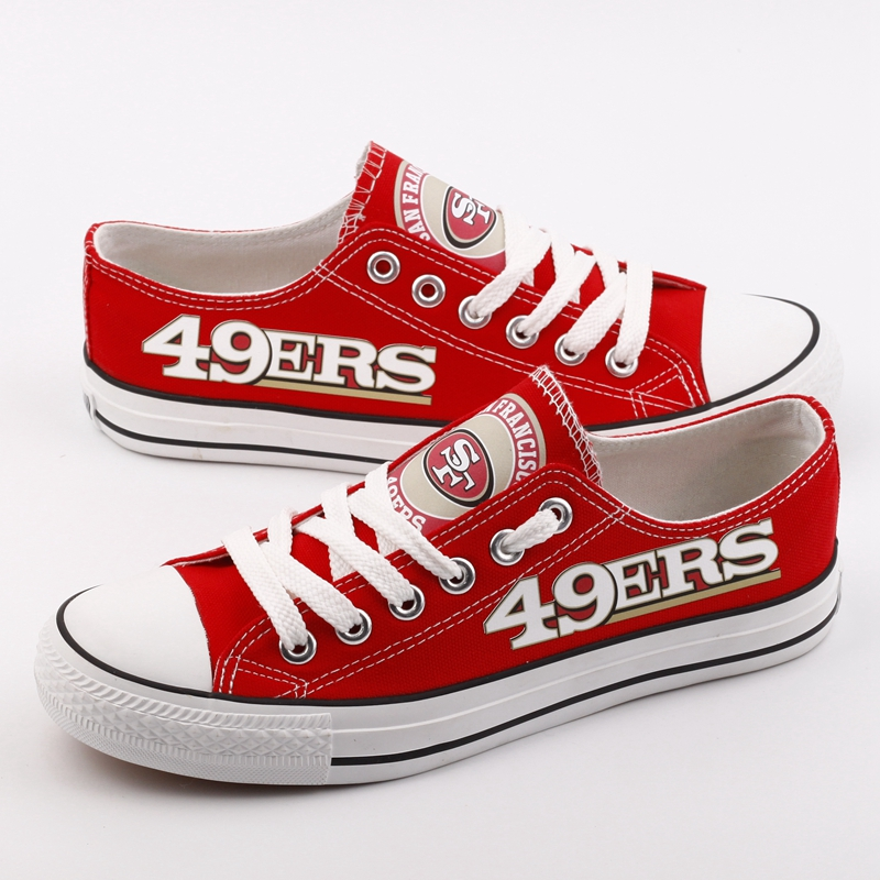 Women and Youth NFL San Francisco 49ers Repeat Print Low Top Sneakers 002