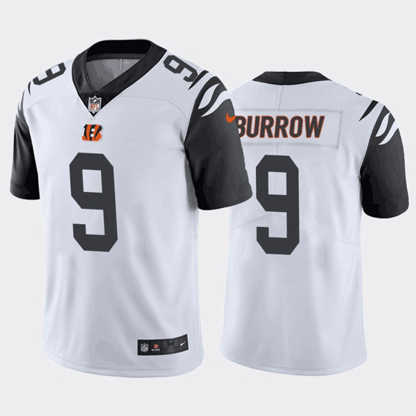Men's Cincinnati Bengals #9 Joe Burrow 2020 White color rush Limited Stitched NFL Jersey