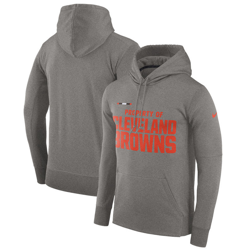 Men's Cleveland Browns Nike Heather Gray Sideline Property Of Performance Pullover Hoodie