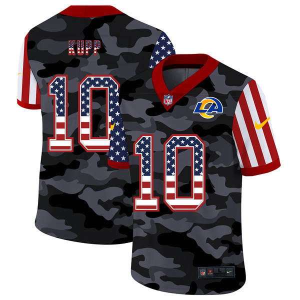 Men's Los Angeles Rams #10 Cooper Kupp 2020 Camo USA Flag Limited Stitched NFL Jersey