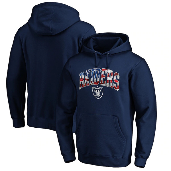 Men's Las Vegas Raiders Navy Banner Wave Pullover Hoodie