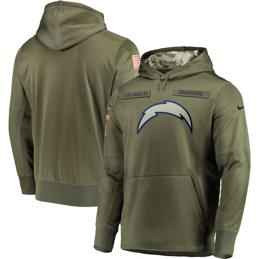 Men's Los Angeles Chargers 2018 Olive Salute to Service Sideline Therma Performance Pullover Stitched NFL Hoodie