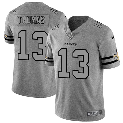 Men's New Orleans Saints #13 Michael Thomas 2019 Gray Gridiron Team Logo Limited Stitched NFL Jersey