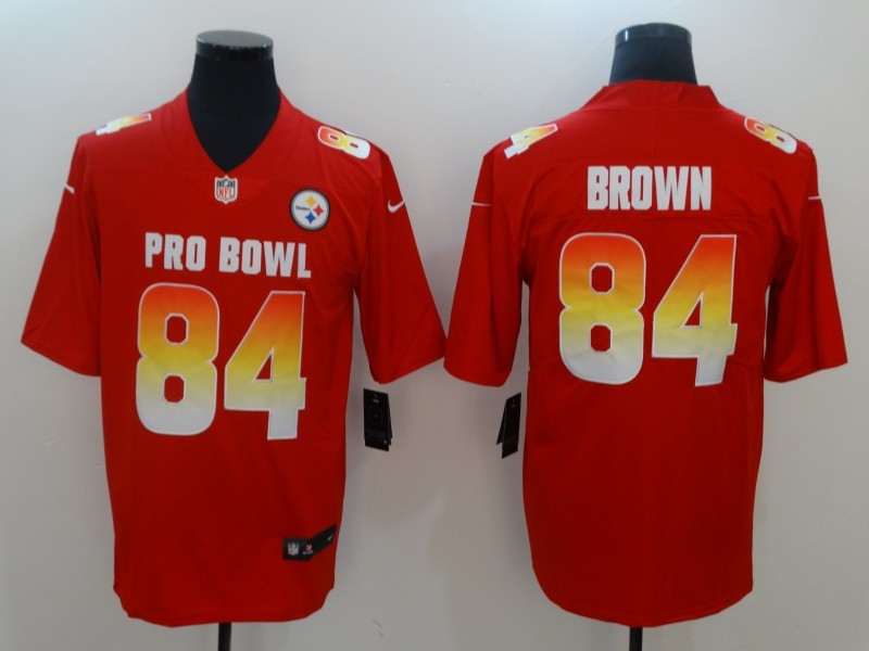 Men's AFC Pittsburgh Steelers #84 Antonio Brown Red 2019 Pro Bowl NFL Game Jersey