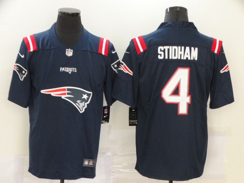 Men's New England Patriots Navy #4 Jarrett Stidham Team Big Logo Limited Stitched NFL Jersey