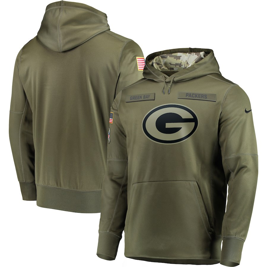 Men's Green Bay Packers 2018 Olive Salute to Service Sideline Therma Performance Pullover Stitched NFL Hoodie