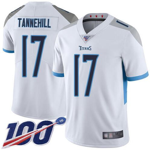 Men's Tennessee Titans #17 Ryan Tannehill 2019 White 100th Season Vapor Untouchable Limited Stitched NFL Jersey