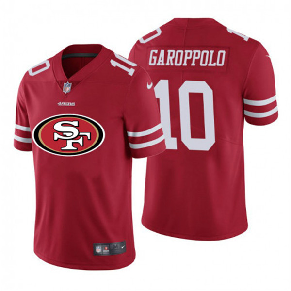 Men's San Francisco 49ers #10 Jimmy Garoppolo Red 2020 Team Big Logo Limited Stitched Jersey
