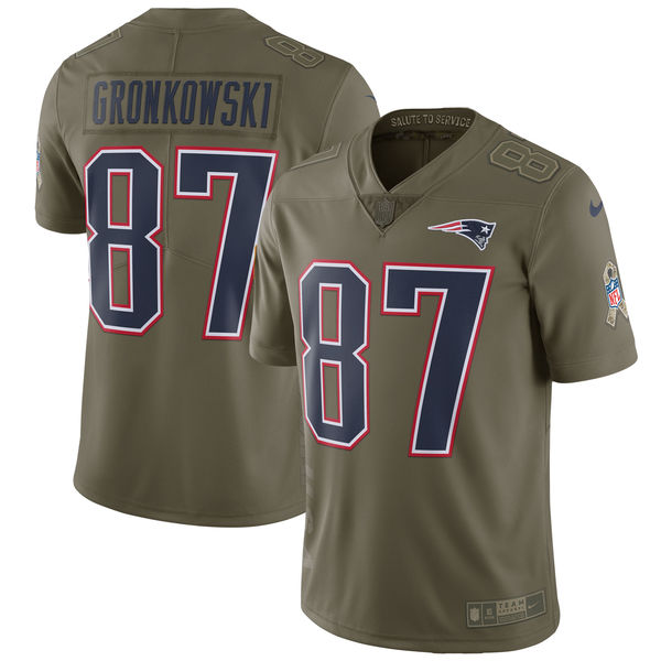Men's Nike New England Patriots #87 Rob Gronkowski Olive Salute To Service Limited Stitched NFL Jersey