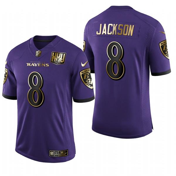 Men's Baltimore Ravens #8 Lamar Jackson Purple Stitched NFL Jersey ...