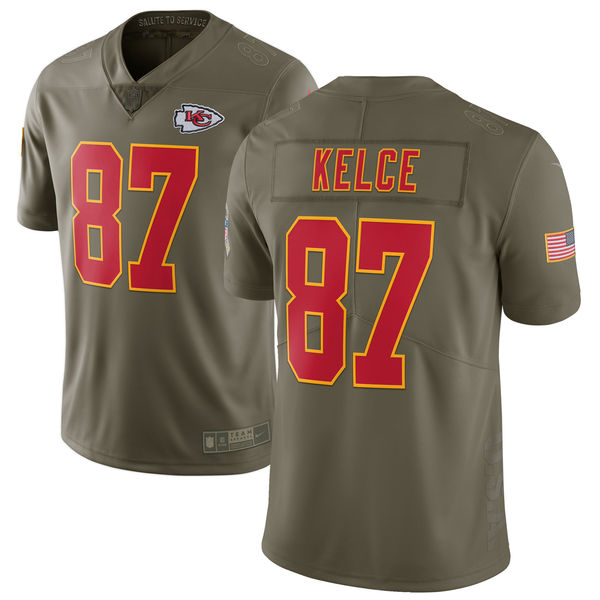 Men's Nike Kansas City Chiefs #87 Travis Kelce Olive Salute To Service Limited Stitched NFL Jersey