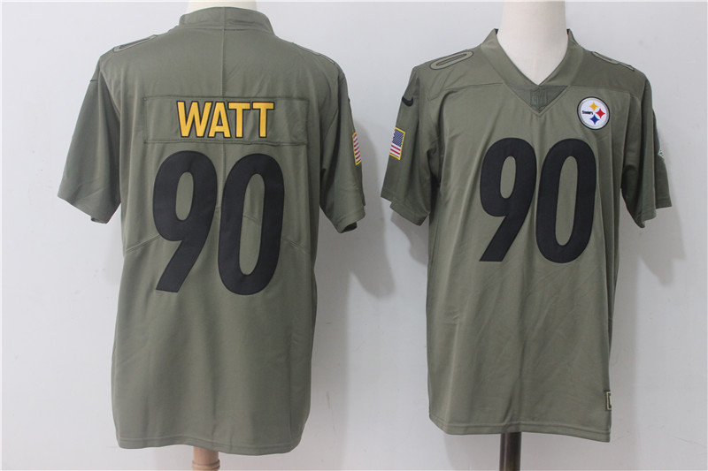 Men's Nike Pittsburgh Steelers #90 T.J. Watt Olive Salute To Service Limited Stitched NFL Jersey
