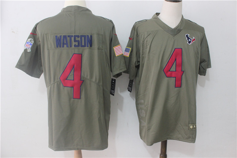 Men's Nike Houston Texans #4 Deshaun Watson Olive Salute To Service Limited Stitched NFL Jersey