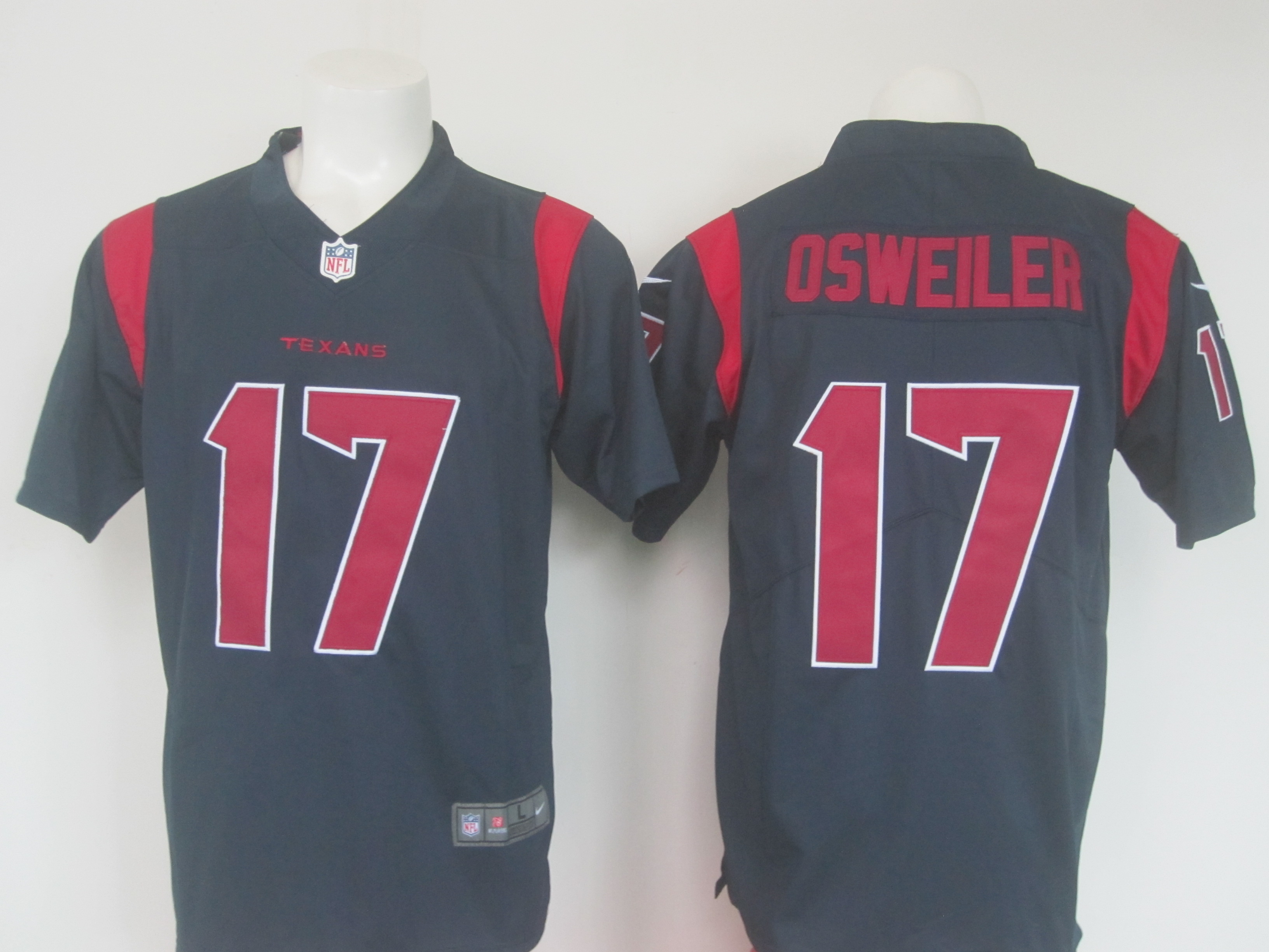 Men's Nike Texans #17 Brock Osweiler Navy Limited Rush Stitched NFL Jersey