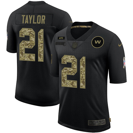 Men's Washington Football Team #21 Sean Taylor 2020 Black Camo Salute To Service Limited Stitched NFL Jersey