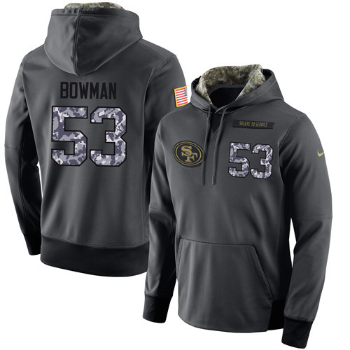 NFL Men's Nike San Francisco 49ers #53 NaVorro Bowman Stitched Black Anthracite Salute to Service Player Performance Hoodie