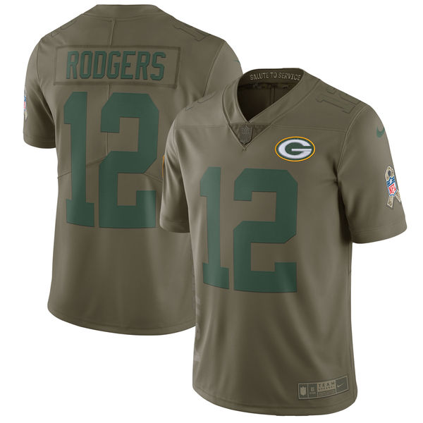Men's Nike Green Bay Packers #12 Aaron Rodgers Olive Salute To Service Limited Stitched NFL Jersey