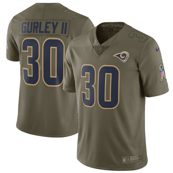 Men's Nike Los Angeles Rams #30 Todd Gurley Olive Salute To Service Limited Stitched NFL Jersey