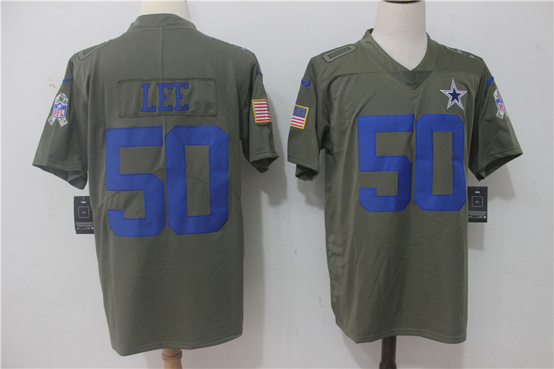 Men's Nike Dallas Cowboys #50 Sean Lee Olive Salute To Service Limited Stitched NFL Jersey