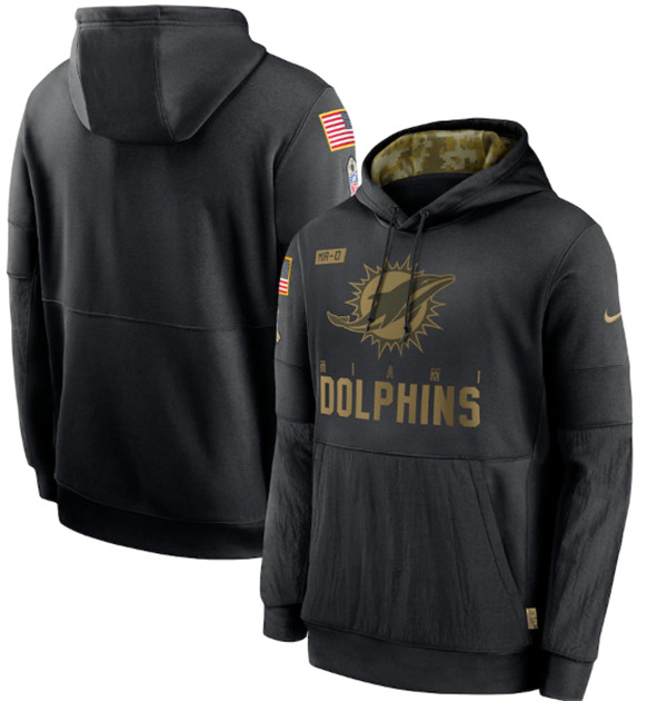 Men's Miami Dolphins 2020 Black Salute to Service Sideline Performance Pullover Hoodie
