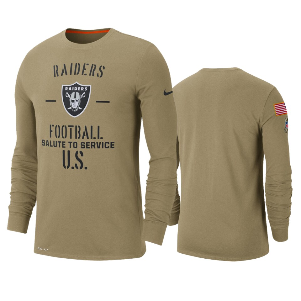 Men's Oakland Raiders Tan 2019 Salute To Service Sideline Performance Long Sleeve Shirt NFL.