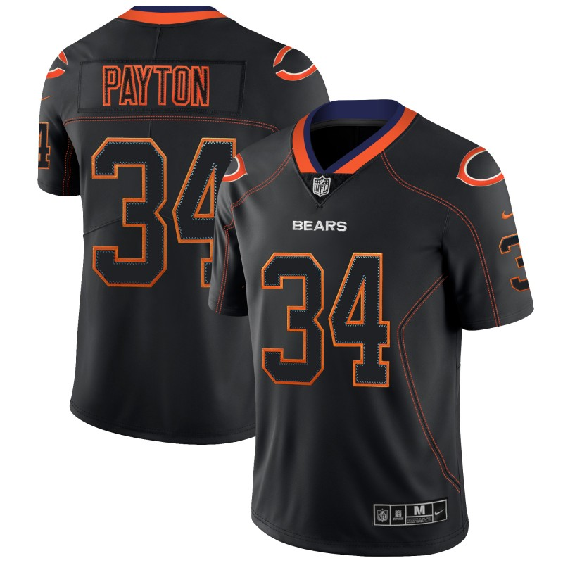 Men's Bears #34 Walter Payton NFL 2018 Lights Out Black Color Rush Limited Jersey