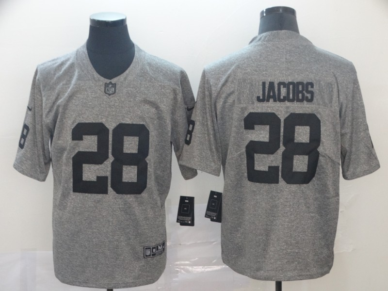 Men's Oakland Raiders #28 Josh Jacobs Grey Limited Stitched NFL Jersey