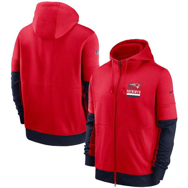 Men's New England Patriots Red Sideline Impact Lockup Performance Full-Zip NFL Hoodie