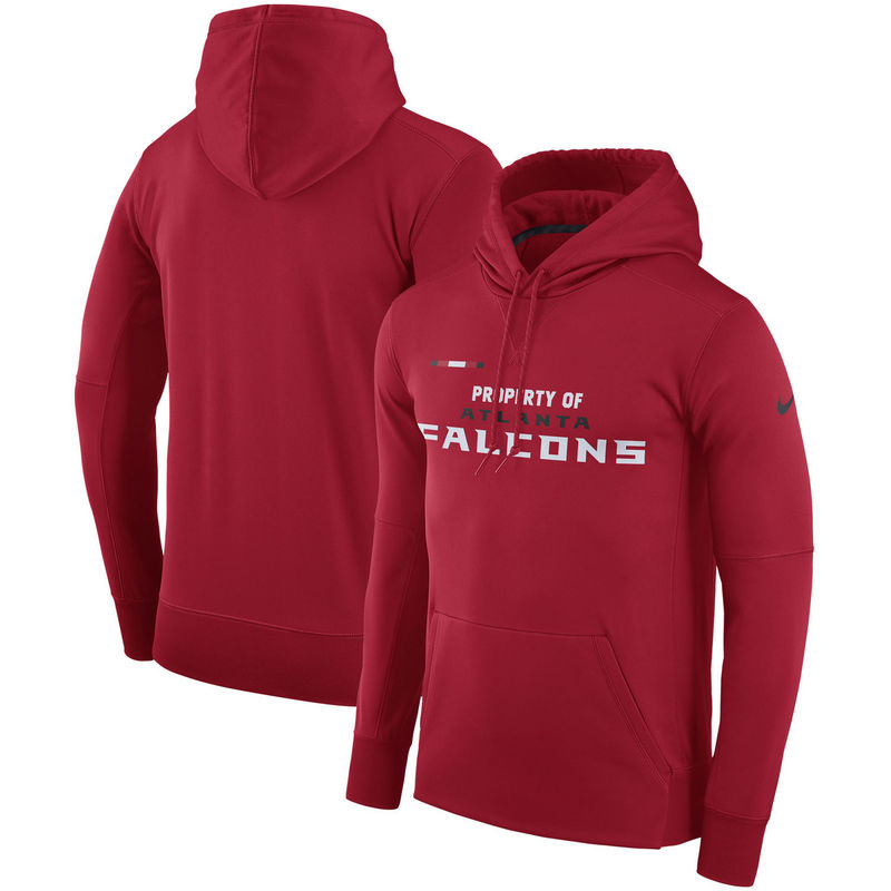 Men's Atlanta Falcons Nike Red Sideline Property Of Performance Pullover Hoodie