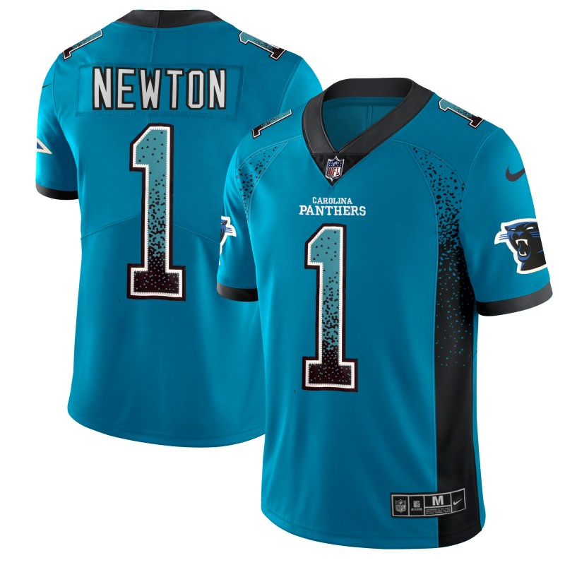 Men's Panthers #1 Cam Newton Blue 2018 Drift Fashion Color Rush Limited Stitched NFL Jersey