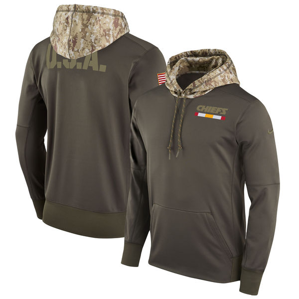 Men's Kansas City Chiefs Nike Olive Salute to Service Sideline Therma Pullover Hoodie