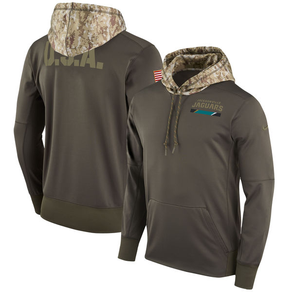 Men's Jacksonville Jaguars Nike Olive Salute to Service Sideline Therma Pullover Hoodie