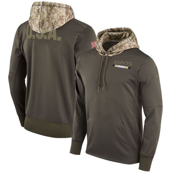 Men's New Orleans Saints Nike Olive Salute to Service Sideline Therma Pullover Hoodie