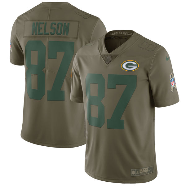 Men's Nike Green Bay Packers #87 Jordy Nelson Olive Salute To Service Limited Stitched NFL Jersey
