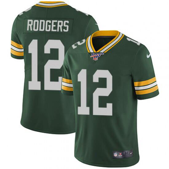 Men's Green Bay Packers #12 Aaron Rodgers Green 2019 100th Season Vapor Untouchable Limited Stitched NFL Jersey