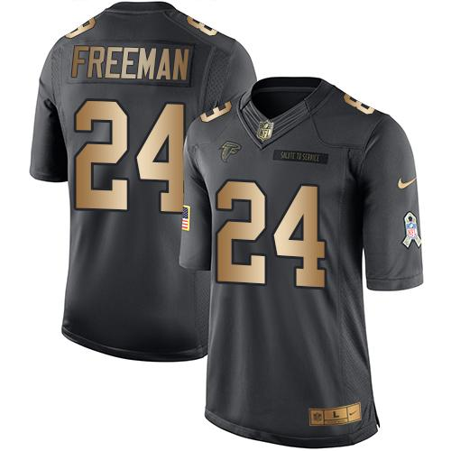 Nike Falcons #24 Devonta Freeman Black Men's Stitched NFL Limited Gold Salute To Service Jersey