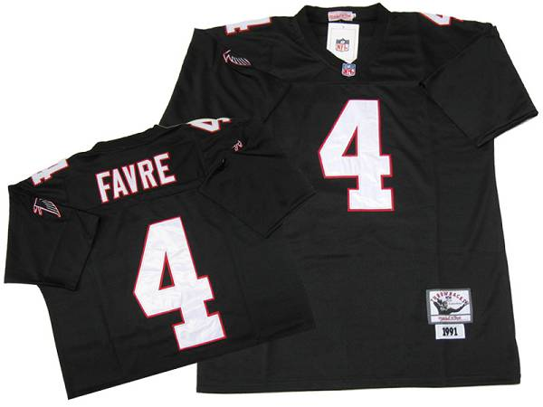 Mitchell&Ness Falcons #4 Brett Favre Black Stitched NFL Throwback NFL Jersey