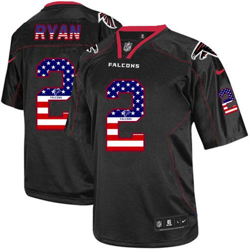 Nike Falcons #2 Matt Ryan Black Men's Stitched NFL Elite USA Flag Fashion Jersey
