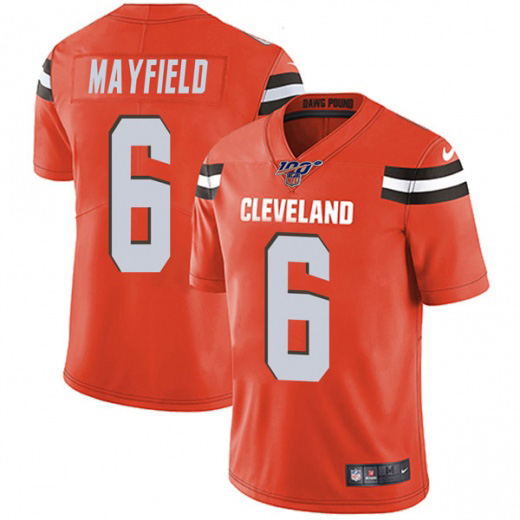 Men's Cleveland Browns 100th #6 Baker Mayfield Orange NFL Vapor Untouchable Limited Stitched Jersey
